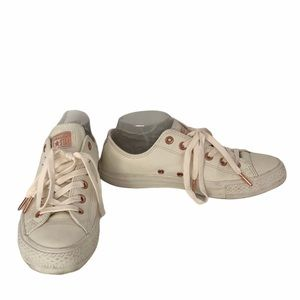 CONVERSE all star white leather upper rose gold